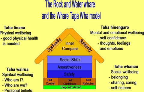 A diagram showing how the structure of the Rock and Water programme fits with the Whare Tapawha model