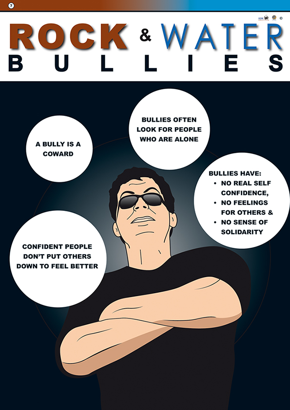 Ropck and water bullies poster showing that bullies lack self-confidence and confident people don't put others down.